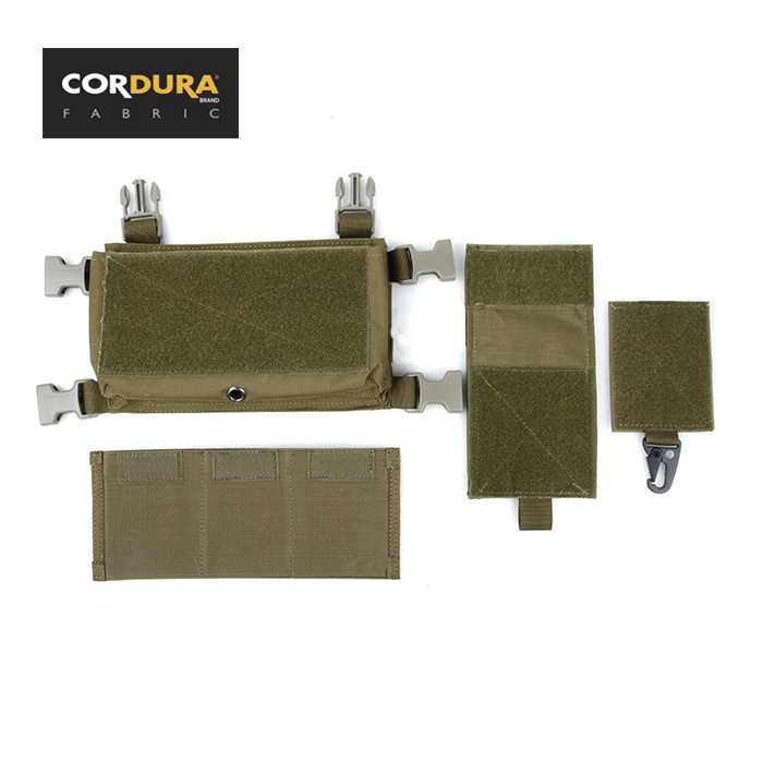 TMC Cordura Micro Fight Chest Rig Front Chassis Magazine Pouch Set Khaki SKU051175