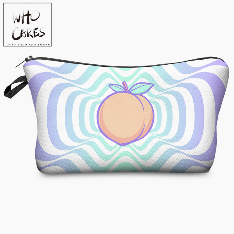 Hypnotic Peach Fresh Fruits 3D Print Cosmetic Bag Women Organizer Makeup Bag 2018 Who Cares Cosmetic Case Travel Storage Neceser peach print tee