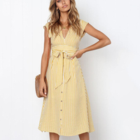 1bd03cc3e6019d BEFORW 2019 Women Beach Summer Dress Sexy V Neck Sleeveless Button Striped  Long Dresses Female Casual