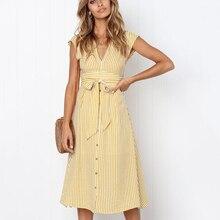 BEFORW 2019 Women Beach Summer Dress Sexy V Neck Sleeveless Button Striped Long Dresses Female Casual Party Dress Vestidos