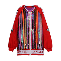 Stylish Hip Hop Girl New Multicolor Stripes Sequins Bomber Jacket Female Spring Cotton Lining Cartoon Queens Coat