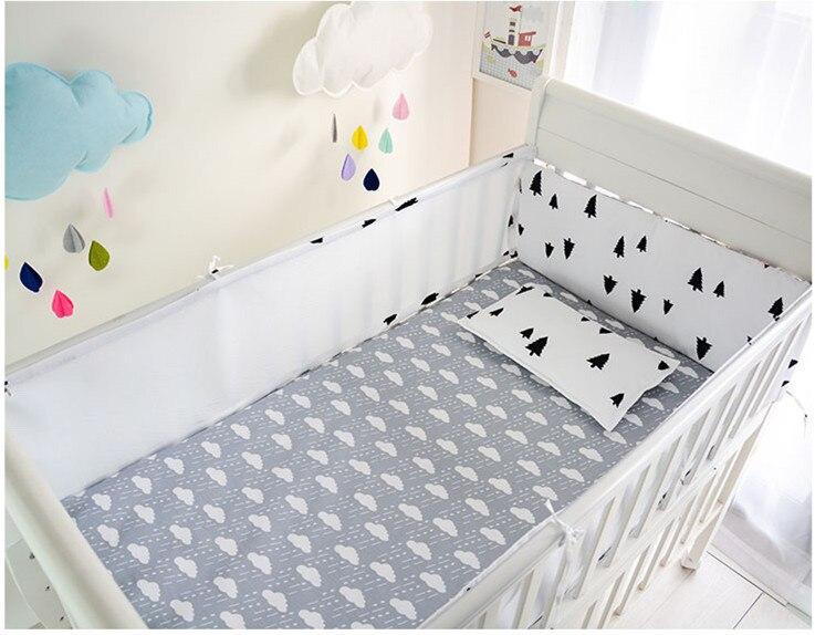 Promotion 6PCS Mesh Cot Baby bedding sets Children Crib Bedding Set for piece Bumper Sheet 4bumpers