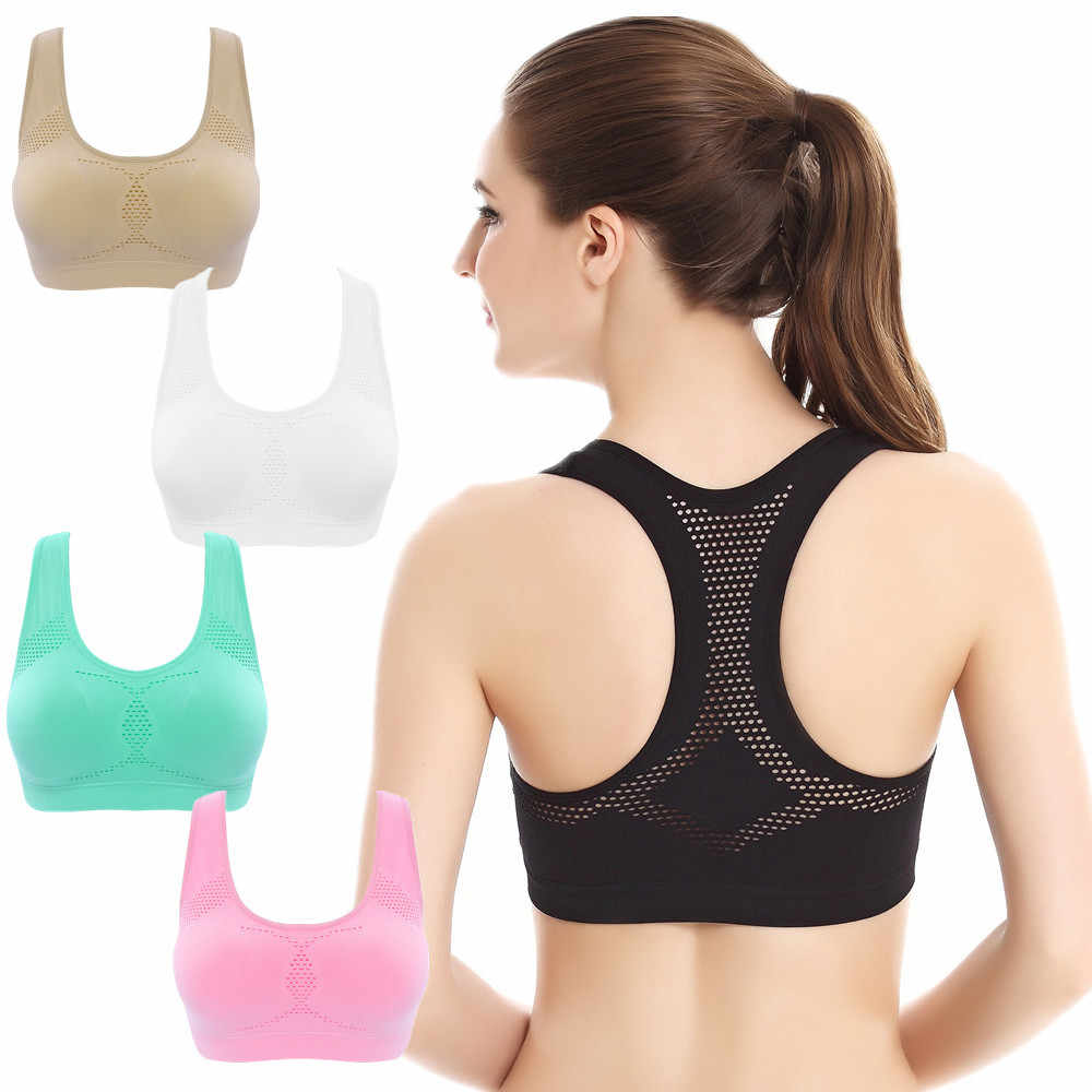 b4965b2ed77b8 Professional Absorb Sweat Top Athletic Running Sports Bra Gym Fitness Women  Seamless Padded Vest Tanks M L