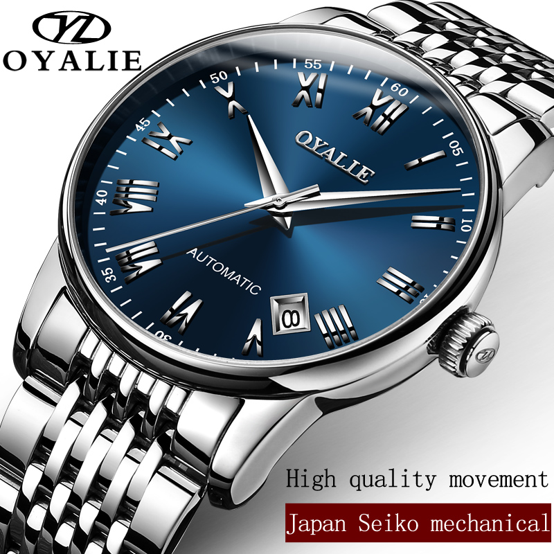 Top Brand OYALIE Luxury Mens Watches Automatic Mechanical Watch Tourbillon Clock Full Steel Casual Business Wristwatch relojes mens watches top brand luxury automatic mechanical tourbillon watch men luminous stainless steel wristwatch montre homme