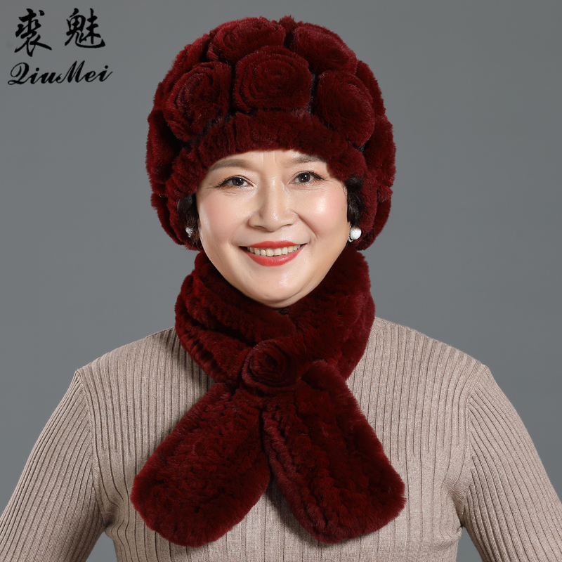 2 PCS Real Rex Rabbit Fur Hat Scarf Sets For Middle-aged Women Warm Beanies Scarf Lady Female Rose Flower Hats Knitted Scarf