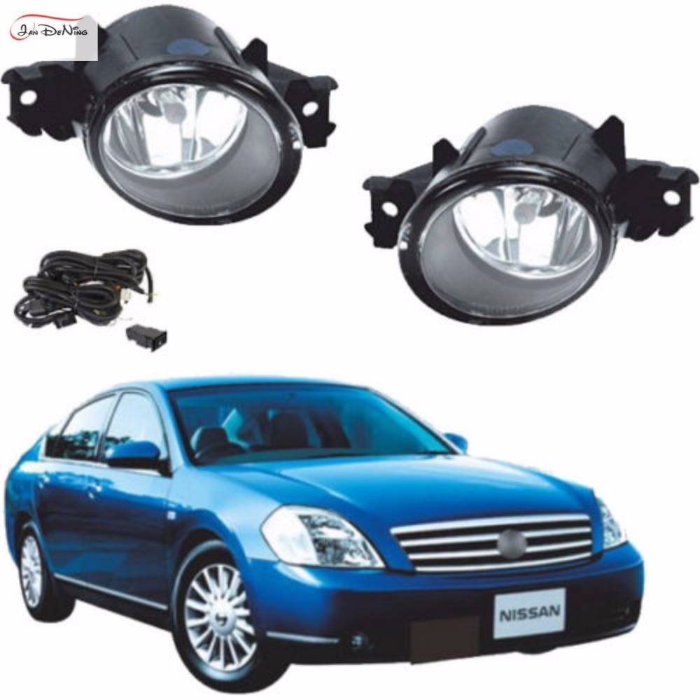 JanDeNing Car Fog Lights For NISSAN MAXIMA/CEFIRO/TEANA 2004 ~ 2005 Clear Front Fog Lamp Light Replace Assembly kit (one Pair) car fog lights lamp for mitsubishi triton 2 door 2009 on clear lens pair set wiring kit fog light set free shipping