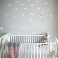 geometric Feather wall stickers nursery stickers decorative vinyl wall stickers girls kids bedroom Environmental material F22