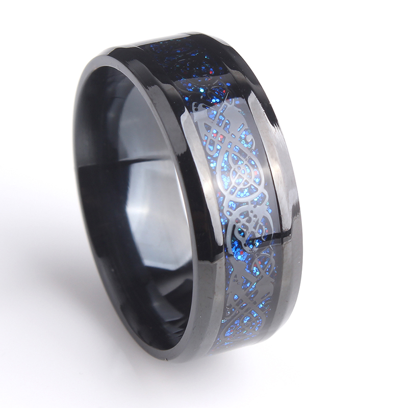 8mm Black Hollow blue Dragon 316L Stainless Steel wedding rings for