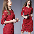 2016 Nuevo Blanco/Negro/Color de Rosa/Rojo Sólido Colores XXXl Elegante Floral Del Cordón Del Ganchillo de Las Mujeres Vestidos de La Cremallera de La Vendimia
