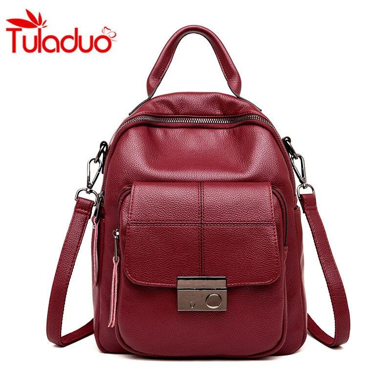 2018 Leather Backpack Multifunction Women Backpack Women Shoulder Bags High Quality Backbag Female School Bag Travel Bag Mochila
