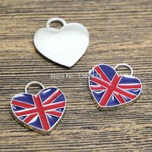 8pcs UK flag Enamel Charms Antique Silver united kingdome flag Charm pendant 19x22mm(China)