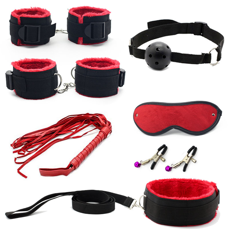 7 Pcs Bondage Set Cotton Red,BDSM Restraint Sex Toys for Couple Handcuffs Sexy Mark Whip Collar for Adult Slave Game Sex Product