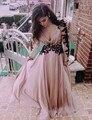 Sexy V Pescoço Manga Longa Vestidos de Baile Com Apliques Pretos Do Vintage 2017 Hot Rosa Formal Vestido de Noite vestido de festa