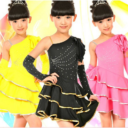 New Rhinestone Diamond Single Shoulder Strap Unequal Kids Girls Child Latin Dance Dress