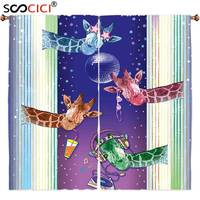 Window Curtains Treatments 2 Panels Animal Giraffes In A Disco Party Cool Gang With Glasses Music