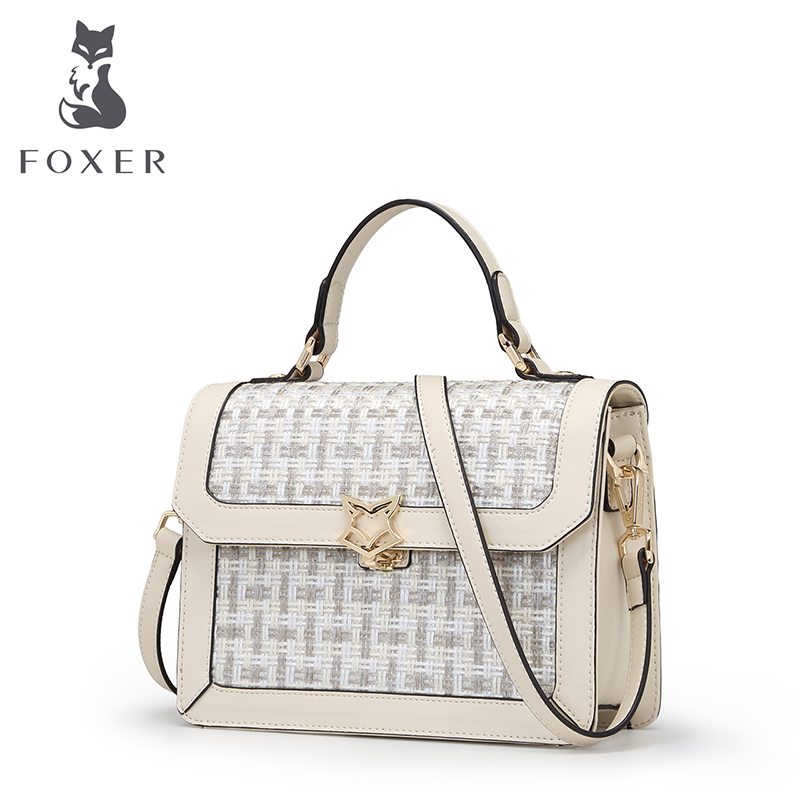 FOXER Women Leather Handbag Shoulder Bags Ladies Tote Fashion Messenger Bag Designer Crossbody for Woman Clutch Knitting Pattern high quality women messenger bags ladies tote shoulder bag woman brand leather handbag crossbody bag with lock designer bolsas