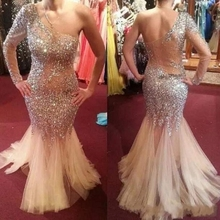 Luxurious Beads Crystal Prom Dresses One-Shoulder New Design Mermaid Evening Dresses Sexy Back With Lace Formal Party Dresses