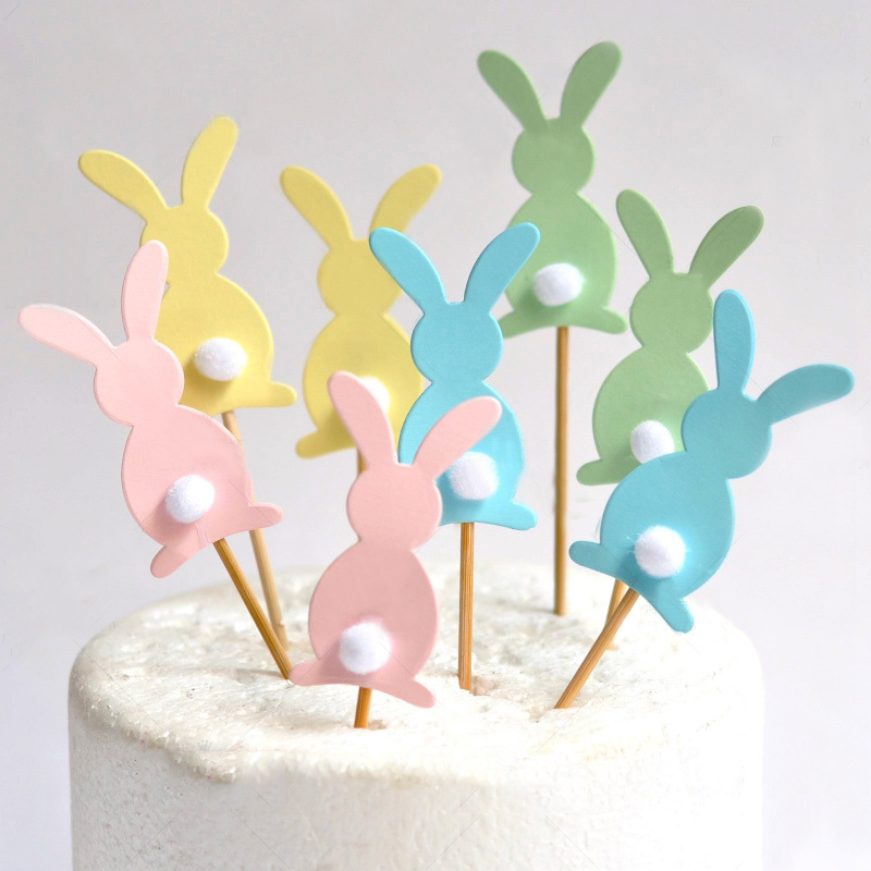 5pcs Cute Happy Easter Rabbit Cake Toppers Cake Decorating Supplies For Easter Birthday Party Favors Easter Decoration Dropship