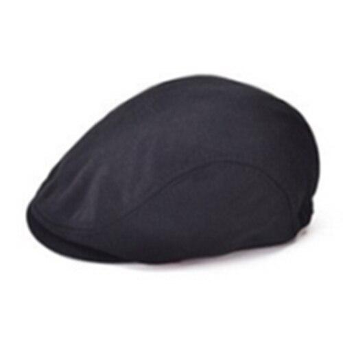 MALL Classic Men Women Beret Pure Color Flat Hat Golf Driving Sun Cap Black