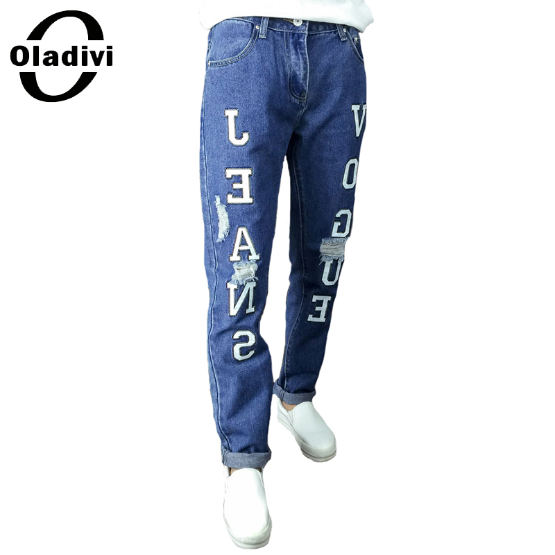 ФОТО Oladivi Brand New Fashion Women Ripped Jeans Hole Letter Printing Denim Pants Trousers Loose Vintage Ladies Plus Size Clothing