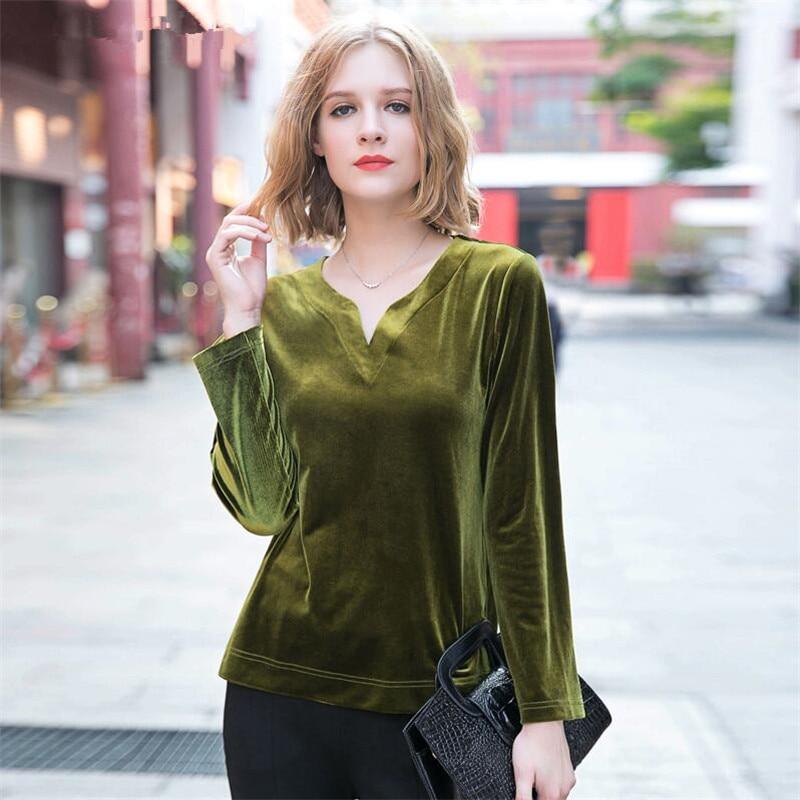 Plus Size M-7XL Women V neck gold velvet   shirt   casual full sleeves loose velour   blouse   playsuit streetwear summer autumn tops