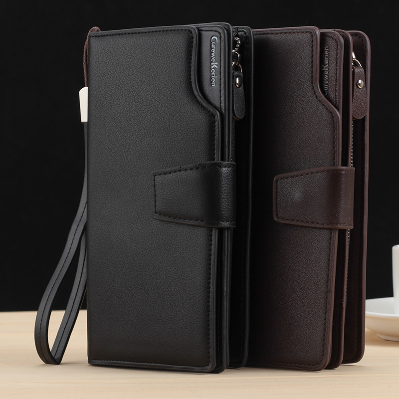 Long Large Capacity Organizer Leather Men Wallets Wristlets Clutch Bag Zipper Pocket Card Holder Coin Purse Man Money Bag Wallet