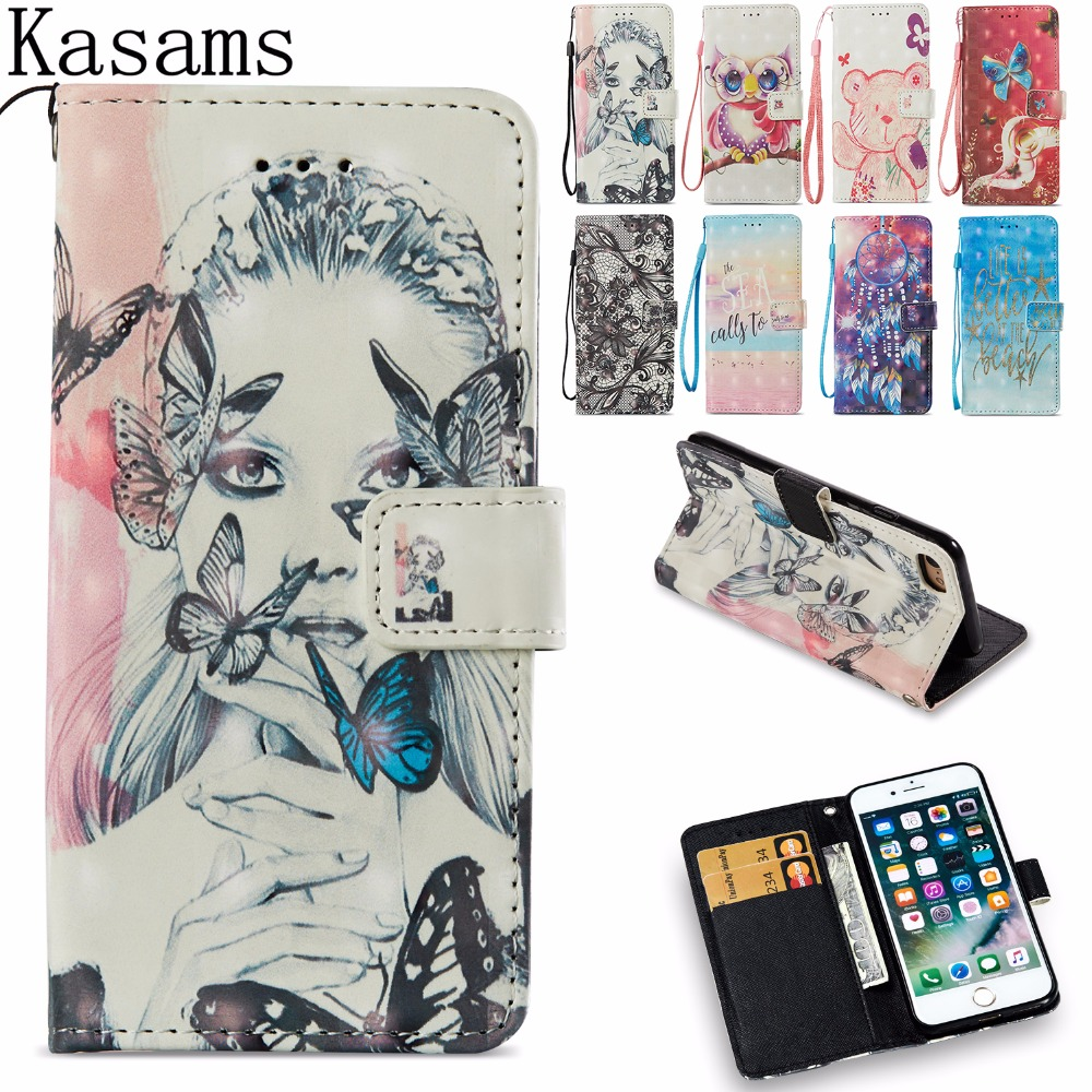 100% Kwaliteit Fundas Voor Iphone 8 Plus 8 + 8 Plus Telefoon Case Voor Iphone 8 Iphone8 Flip Book Cover 3d Glitter Art Schilderen Pu Leather Cases Shell