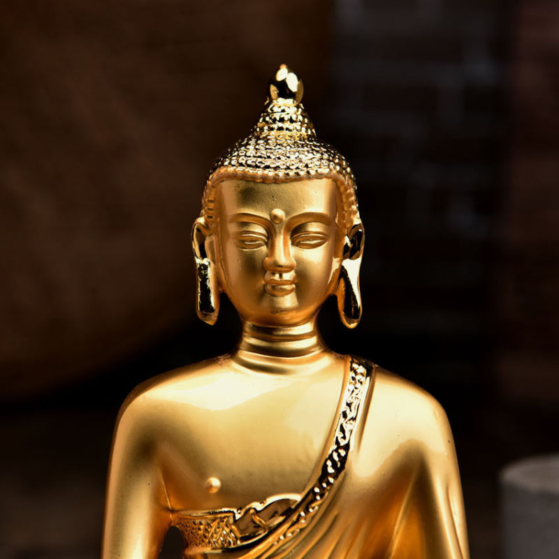 "8/""Asian Antique Tibet  Handmade brass Gilt  Shakya Muni Buddha statue"