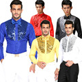 2016 Men Male Stage Performance Dance Host Sequins Shirts Long Sleeve Bling Shirts Costumes Singer Show Gold Shirts Formal 2XL