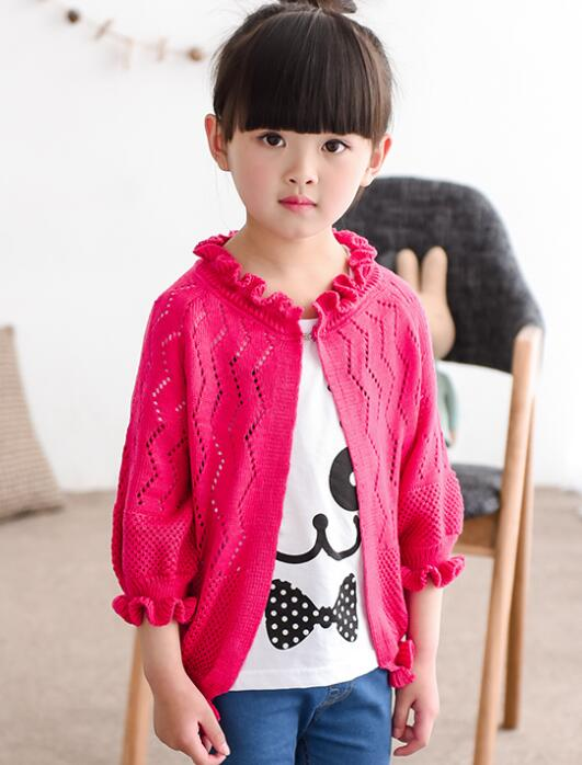 2016 autumn children's clothes solid hollowed thin knitted baby girl cardigan sweaters for girls big kids sweaters outerwear