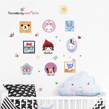 funny rabbit bear mickey wall stickers bedroom nursery home decor cartoon animals decals pvc mural art diy posters