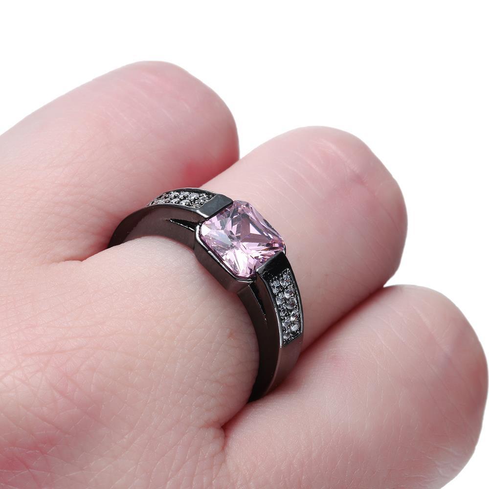 women wedding rings zirconia promise fashion purple pink zircon ...