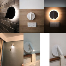 Modern LED Wall Lamp Bedroom Wall Mounted Night Light 360 Degree Rotatable Bedside Reading Lamp For Hotel Villa Home AC85-265V все цены