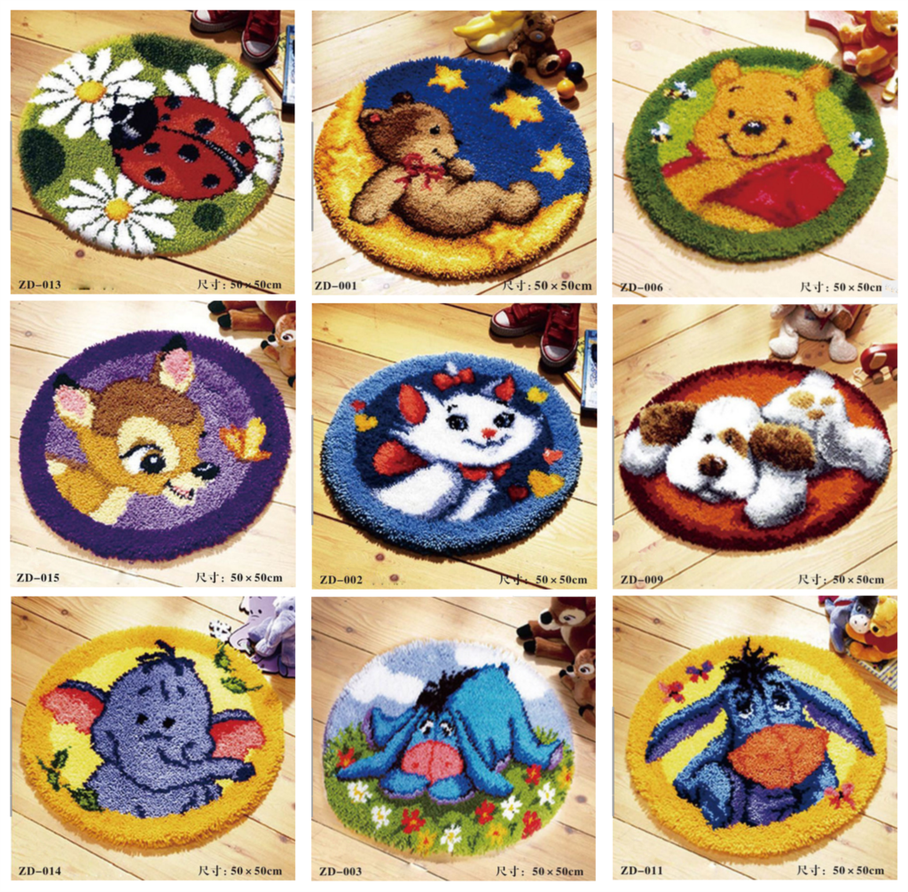 Free Shipping Latch Hook Rug Kits Diy Needlework Unfinished Crocheting Yarn Cushion Mat Cartoons Pattern Embroidery Carpet In From Home