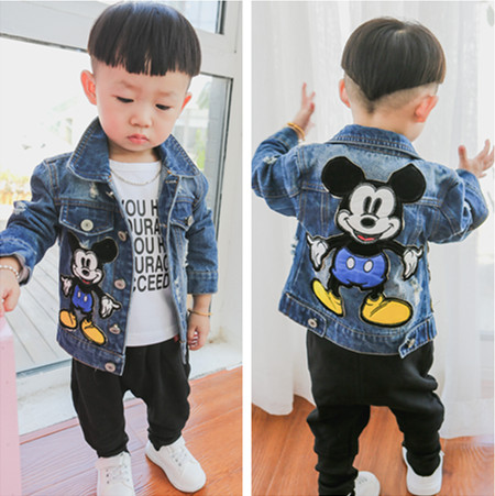 New 2017 Autumn Children Cartoon Jeans Jackets Baby Girl hole light color denim coat boys Mickey