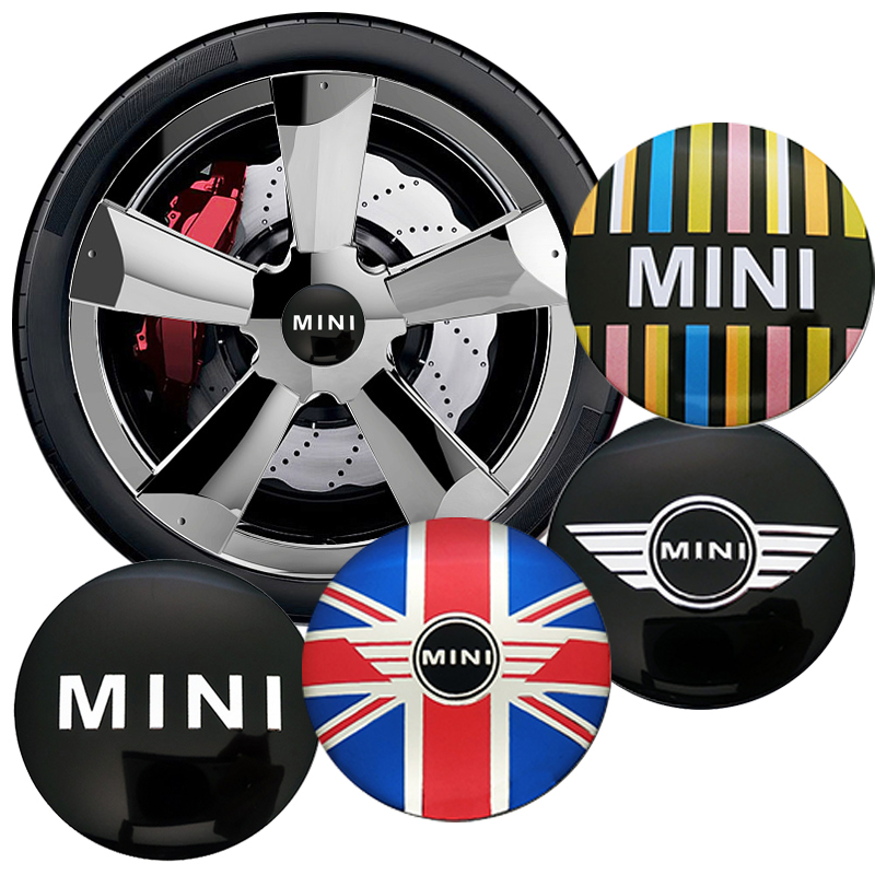 4pcs/set 56mm Wheel Center Cover Stickers Mini Cooper S One JCW Clubman Countryman R50 R52 R55 R56 R57 R58 R59 R60 Car-styling