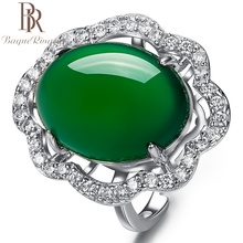 Bague Ringen Created Emerald Ring Green Chalcedony Gemstone Engagement 925 Silver Rings Accessories Women Valentines Day