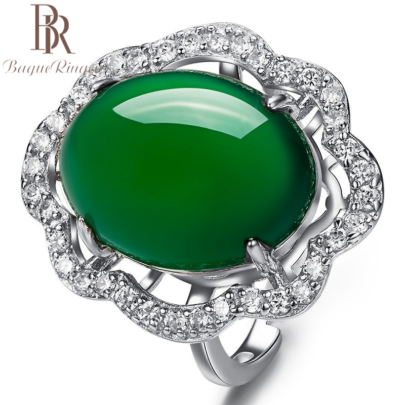 Bague Ringen Created Emerald Ring Green Chalcedony Gemstone Engagement 925 Silver Rings Accessories Women Valentine's Day