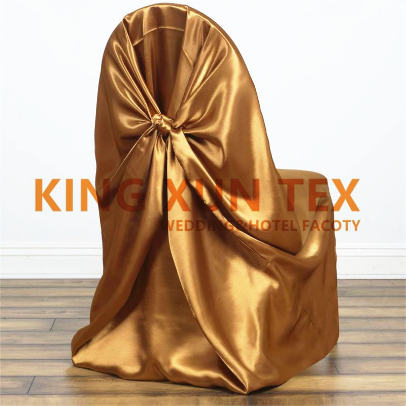 5pcs Satin Selt Tie Chair Cover Banquet Wedding Chair Cover For Party Event Decoration