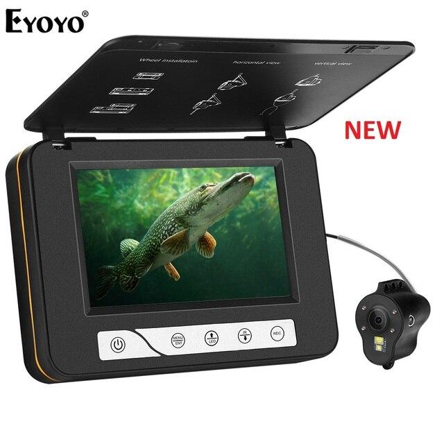 """Eyoyo EF15R الأصلي 30 متر 1000TVL تحت الماء الجليد الصيد كاميرا 5 """"شاشات كريستال بلورية 4 قطعة الأشعة تحت الحمراء 2 قطعة الأبيض المصابيح كاميرا للرؤية الليلية"""