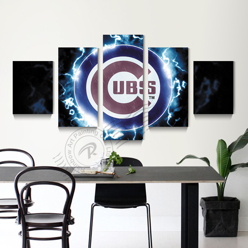 Chicago Home Decor Stores: 5 Panel Chicago Cubs Baseball Sport Logo Wall Painting