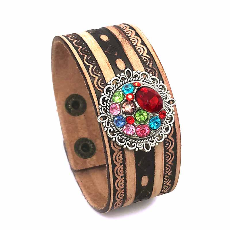 Punk 158 hand woven Genuine Leather Retro fashion charm Bracelet bangle Snap Button Jewelry For Women men fit 18mm button in Charm Bracelets from Jewelry Accessories