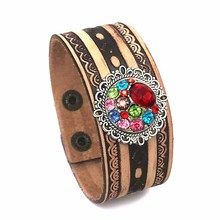 Punk 158 hand woven Genuine Leather Retro fashion charm Bracelet bangle Snap Button Jewelry For Women men (fit 18mm button)