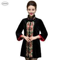 Velvet Cheongsam Dress Women Bead Long Sleeve Spring Chinese Tang Suit Tops Large Size 5XL Blue