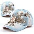 2014 top fashion New Jean Mulheres chapéus snapback do boné de beisebol Ajustável ocasional Strass Flores tampas 41