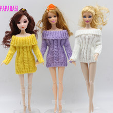 1pc hot sale handmade knitted wools coat dress for Barbie girl dolls, 3 colors assorted, yellow, purple, white(China)
