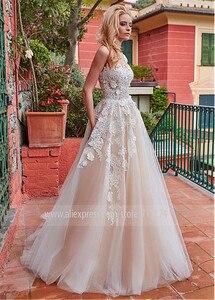 Image 2 - Maravilloso tul Jewel Neckline A line vestido de novia con apliques de encaje & 3D flores vestidos de novia champán