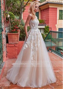 Image 2 - Marvelous Tulle Jewel Neckline A line Wedding Dress With Lace Appliques & 3D Flowers Champagne Bridal Gowns