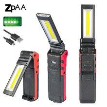 Luz led recarregável gerenciada, luz de trabalho cob para reparo de carro, usb, dobrável, regulável, lâmpadas de lanterna cob