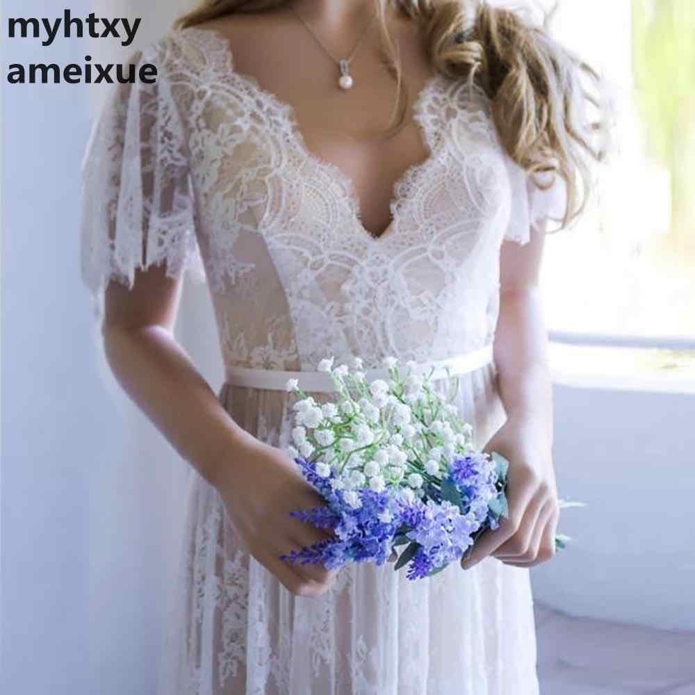שמפניה פורמאלית כלה שמלת 2018 תחרה זול חתונה רומנטית שמלות Vestido דה Noiva חתונה שמלת Boho שמלת הכלה